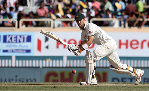 Glenn Maxwell in action during the first day of the third cricket test match between India and Australia