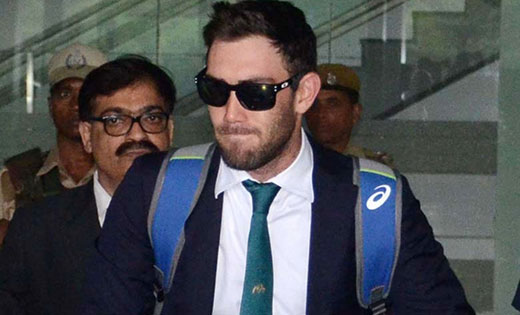 Glenn Maxwell arrives at Netaji Subhas Chandra Bose International Airport in Kolkata