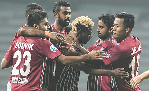 Mohun Bagan and Colombo FC Players in action during an AFC Cup match