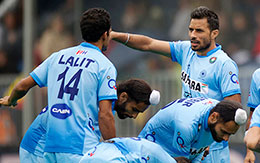 Gurbaj Singh during a league match in FINTRO Hockey World League Semi Final 2015 in Antwerp Belgium