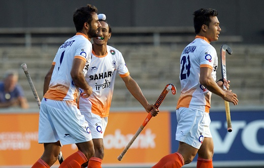 Gurjant Singh celebrates goal with team mates