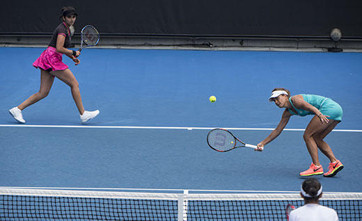 Sania Mirza and Barbora Strycova of the Czech Republic compete during the womens doubles second round match