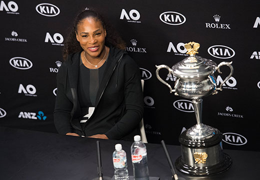 Serena Williams of the U.S. speaks at a press conference after winning the Australian Open tennis championships