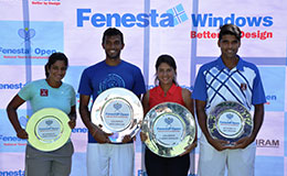 Sriram Balaji Winner Mens SinglesPrerna Bhambri Winners Womens and Vishnu Vardhan Runners up Mens Samhitha Womens Singles Runners up at Fenesta Open National Tennis Championship
