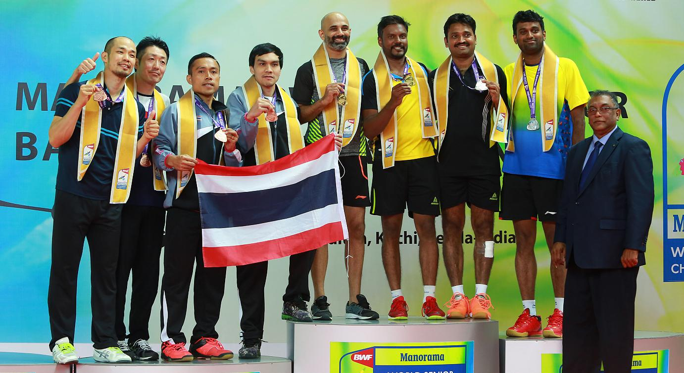 Doubles duo of Sanave ThomasRupesh Kumar and V.DijuVidyadhar won the gold and Silver in the 35 Mixed Doubles at Manorama BWF World Senior Badminton Championships